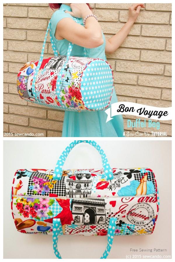 DIY Plenty of Pockets Fabric Duffel Bag Free Sewing Pattern