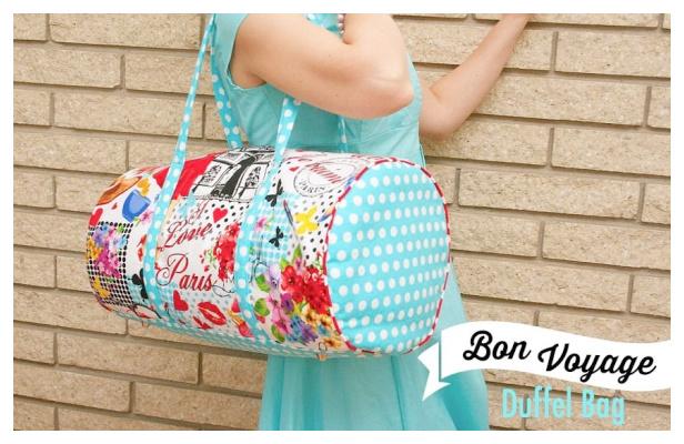 DIY Easy Fabric Duffel Bag Free Sewing Pattern