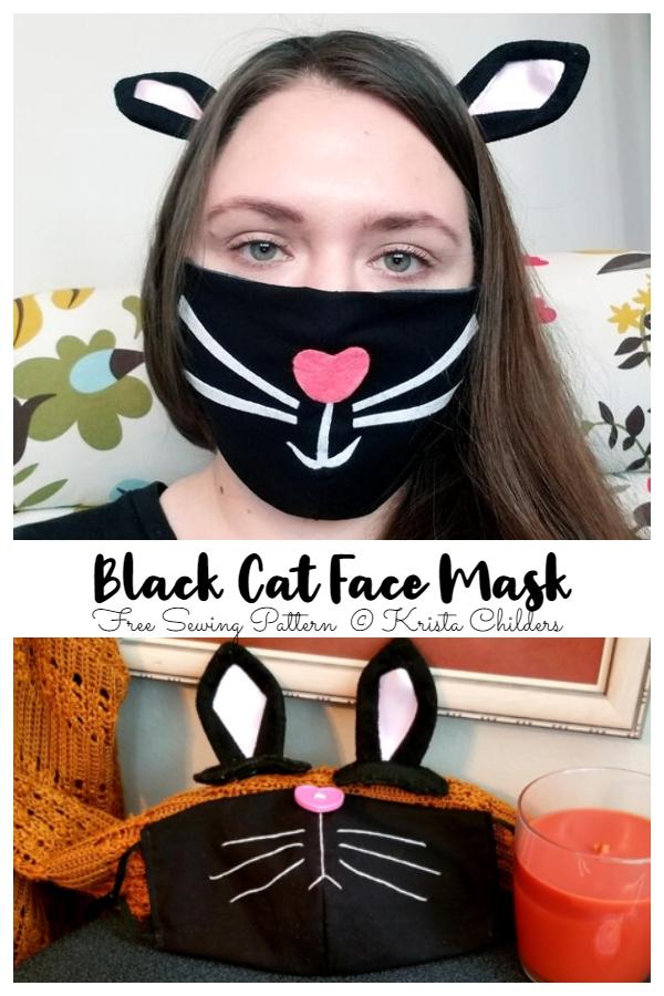 DIY Fabric Black Cat Halloween Face Mask Free Sewing Patterns