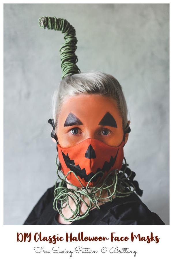 DIY Fabric Jack-O-LanternHalloween Face Mask Free Sewing Patterns