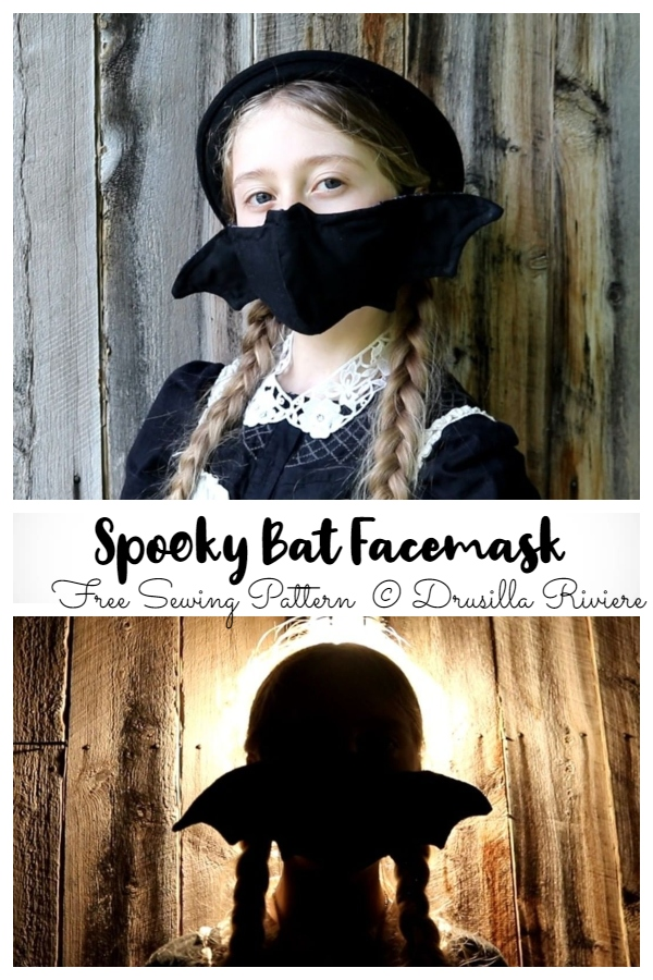 DIY Fabric Halloween Spooky Bat ace Mask Free Sewing Patterns+Video