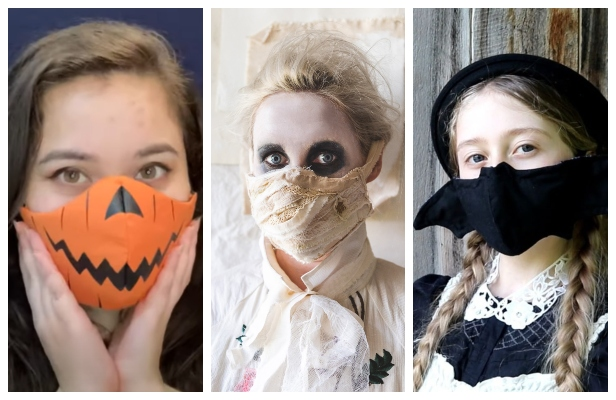 DIY Fabric Halloween Skellington Smile Face Mask Free Sewing Patterns