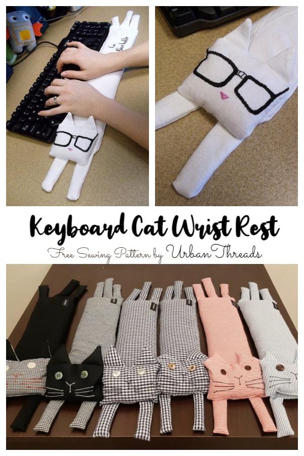 DIY Fabric Keyboard Cat Wrist Rest Free Sewing Pattern