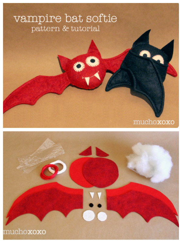 DIY Fabric Vampire Bat Softie Free Sewing Pattern