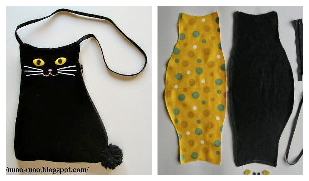 DIY Fabric Cat Pouch Free Sewing Pattern