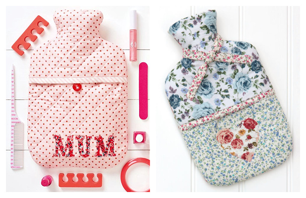 DIY Fabric Quilted Hot Water Bottle Cover Free Sewing Patterns