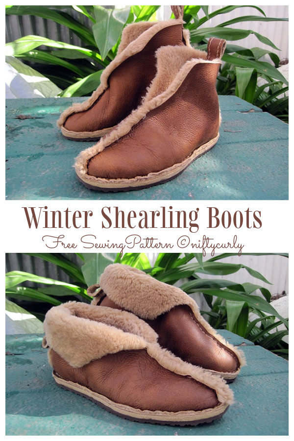DIY Simple Winter Shearling Boots Free Sewing Patterns