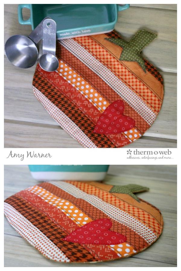 Fusible Fleece Fall Pumpkin Potholder Free Sewing Patterns